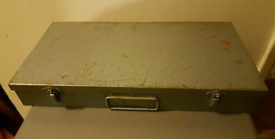 Vintage Blue Metal 35mm Film Slide Case / Storage Holds 150 slides