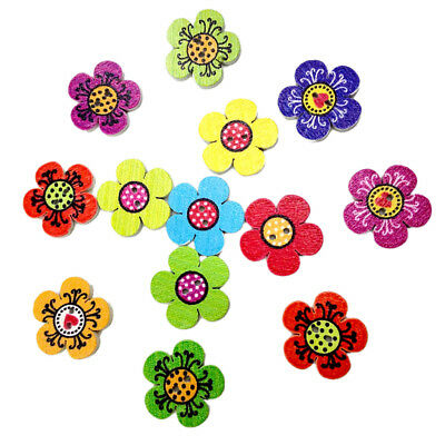 100pcs Flower Wooden Decorative Buttons 2 Holes For Sewing Scrapbooking DIY