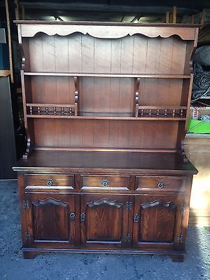Old Charm Solid Oak Dresser 3 Door Cupboards  Sideboard  3 Drawers  Plate Racks