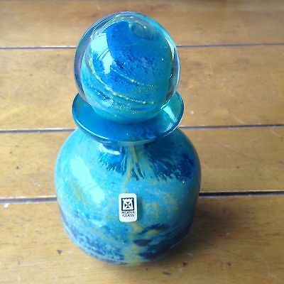 """Early Mdina Signed Blue Crystal Yellow 6.5"""" Decanter Malta Glass Label"""