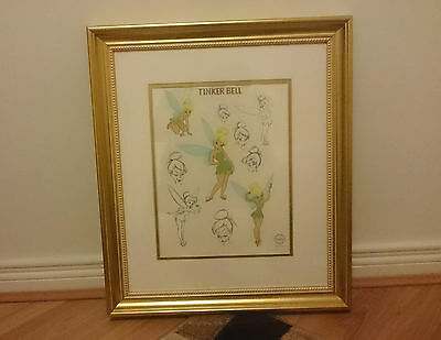 Walt Disney Limited Edition Sericel Tinkerbell Poses Gold Gilt Frame Coa