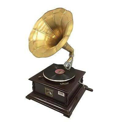 Admiral Decorative Gramophone Hmv Antique Style Collective Brass Horn Wine Up