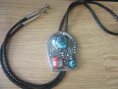 Vintage BOLO SIGNED M Chee Navajo Sterling Turquoise Coral squash blossom tips