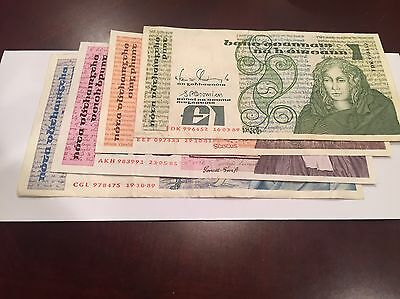 IRELAND Series B LOT OF 4 BANKNOTES... 1, 5, 10 AND 20 POUNDS