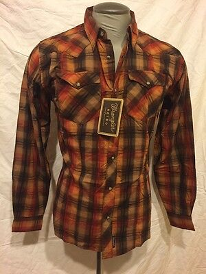 *NWT* Wrangler Retro Boys Western Pearl Snap Shirt Rust Orange Cowboy Boys XXL