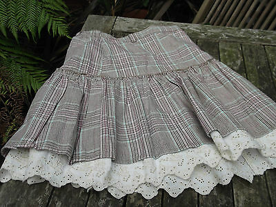 H&M Girl's Skirt Age 6-7. Brown Plaid Broderie Anglaise Petticoat Trim
