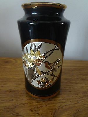 The Art of Chokin Japanese Vase 6 in. 24KT gold etched w/ Hummingbird & Flowers