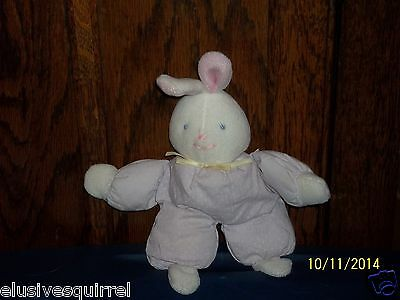 Eden White Bunny Rabbit Plush Rattle Lavender Polka Dots Outfit