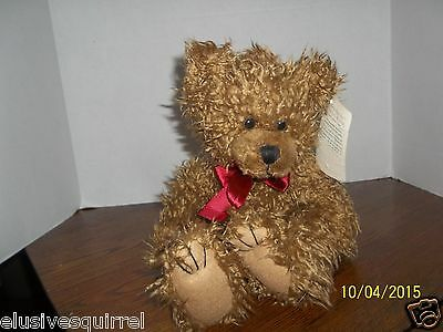 First & Main Brown Scraggles Teddy Bear Plush With Red Bow With Tags 1114