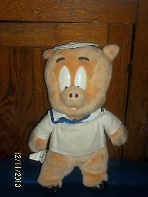 1998 Ace Looney Tunes Warner Bros Porky Pig Dressed As A Navy Sailor Plush