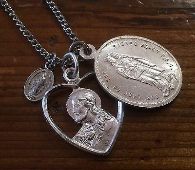 Vintage Religious Aluminum Charm Cluster Necklace Teeny Tiny Medal Sacred Heart