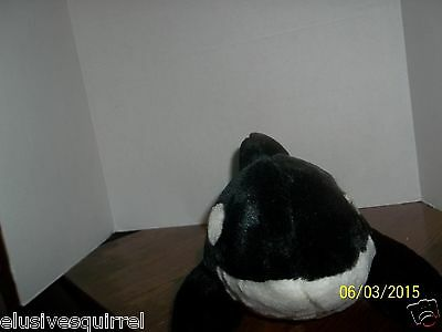 "Sea World Orca Killer Whale Shamu Plush 15"" Long With Plastic Tag"