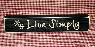 """Rustic Primitive Country Wood engraved words """"LIVE SIMPLY"""" home decor"""