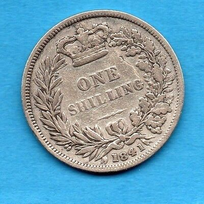 1841 Silver Shilling Coin. Queen Victoria Young (Bun) Head 1/-. Scarce.