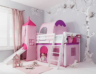 Cabin Bed with Slide Kids Midsleeper in Pink with Tent, Tunnel, Tower & Tidy