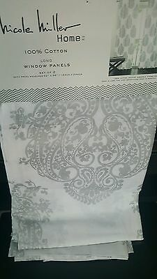 New 2 Nicole Miller Damask Large Medallion Silver White Window Curtain Panels 96