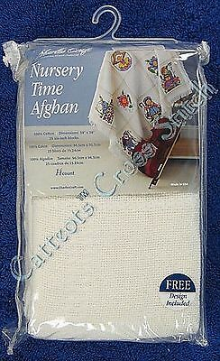 Cross Stitch Baby Afghan Nursery Time White Cloth Cotton 14 Count