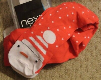 New Next cotton rich Snowman tights Red/white 3-4 years Last one