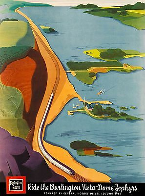 Burlington Vista Dome Zephyrs Illinois U.S. Travel Poster Advertisement Print