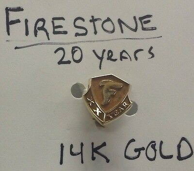 14K GOLD FIRESTONE 20 YEARS XX PIN Company Service Vintage tires sign award