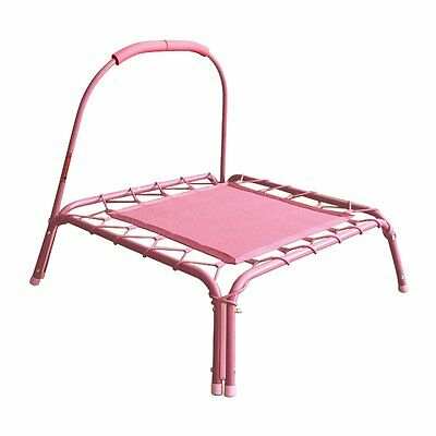 ALEKO Mini Square Pink Trampoline With Safety Handle For Children