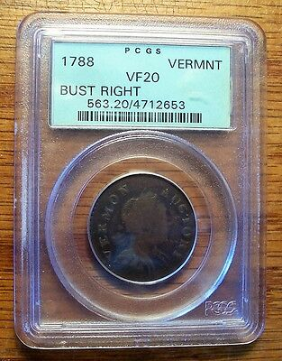 1788 Vermont Bust Right Cent PCGS VF 20