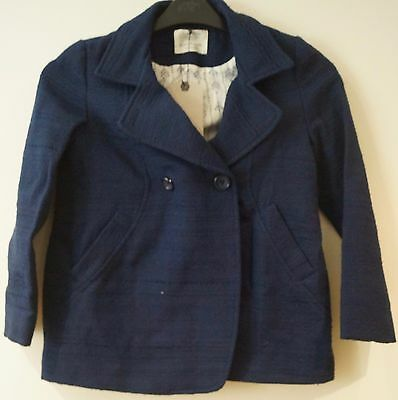 ZARA GIRLS Navy Blue Textured Fabric Double Breasted Jacket Sz: 11/12 BNWT