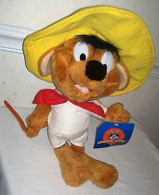 """1997 ACE LOONEY TUNES Large 18"""" SPEEDY GONZALES w/ Tags  Yellow Sombrero"""