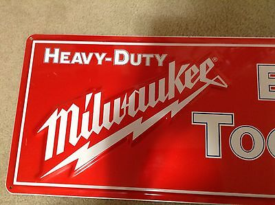 Vintage Large Milwaukee Electric Tools Embossed Tin Sawzall Sign, Made In USA