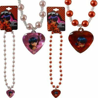 "Party Favors Miraculous Ladybug 16"" Pearl Necklace with 1.5"" 3D Gem- 2 Pcs"