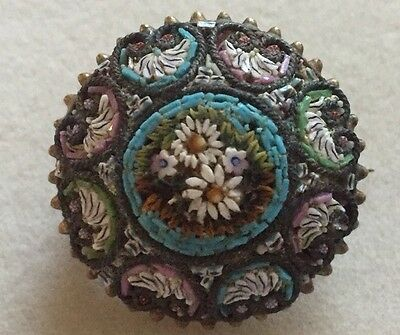 Antique Vintage Fine Victorian Micro Mosaic Floral Brooch Pin Italy Gilt Signed