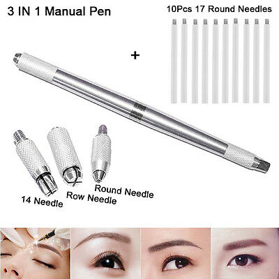 10Pcs 17 Round Needle With Microblading Permanent 3D Eyebrow Manual Tattoo Pen
