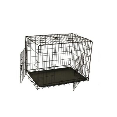 """ALEKO 2 Door Folding Dog Cat Suitcase Cage Crate With Abs Tray 30"""" Black"""