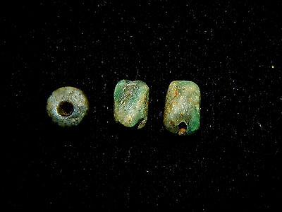 Pre-Columbian Jade Beads, Set of 3, Authentic,Very Rare, Costa Rica