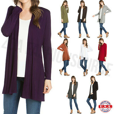 USA Women Long Sleeve Cardigan Open Front Draped Solid Casual Mid Length S ~ XL