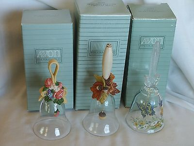 Set of 3 Avon Crystal Bells: Crystal Butterfly, Floral Bouquet & Harvest Bounty
