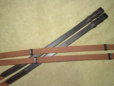 """NEW~Beautiful COURBETTE English Brown Leather & Web Reins w/Handstops~XLONG~136"""""""