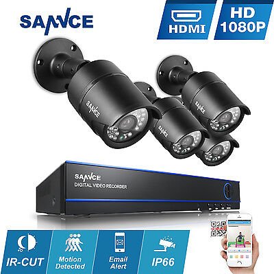 SANNCE 4CH HD 1080P HDMI DVR 2MP 2000TVL In/ Outdoor CCTV Security Camera System