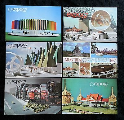 Expo 67 Montreal 6 Official Postcards Pavilions Canada Alcan Thailand Paper +++