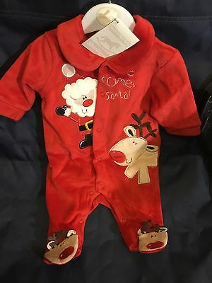 Baby Christmas Baby Grow Newborn 0-3 3-6 Mths Red Velour Romper Suit All In One