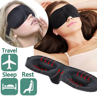 3D Soft Padded Eye Mask Travel Rest Sleep Aid Blindfold Shade Cover Unisex Black
