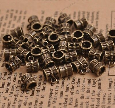 Tibetan Silver Bronze Tone Charms Bail Connector Spacer Beads 7MM A3082