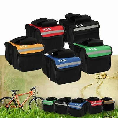 Cycling Bicycle Bike Top Frame Front Pannier Saddle Tube Bag Double Pouch FJ