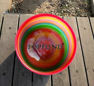 Rainbow Colored F Heart Chakra Frosted Quartz Crystal Singing Bowl 10""