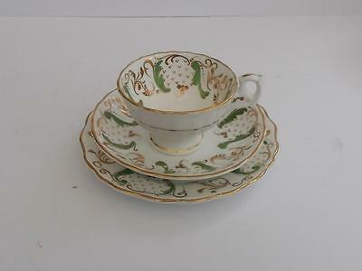 Antique Victorian Hand Enamelled English Bone China Teacup,Saucer Plate Trio.