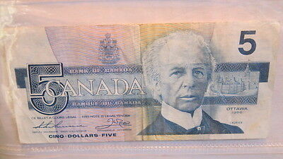 Banknote $5 Canada Ottawa 1986 Bird Series Bank of Canada  Five Dollars Laurier
