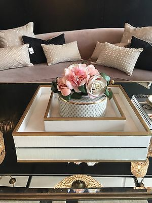 Small Serving tray Faux shagreen design square tray. White antique gold trim.
