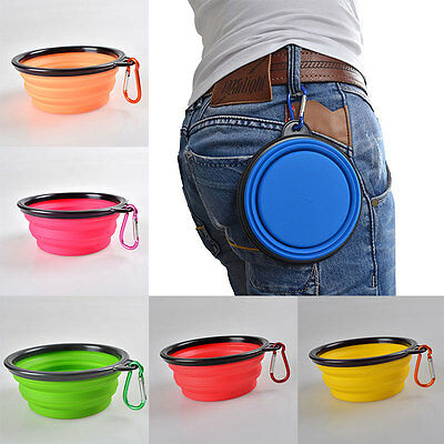 Travel Folding Silicone Pet Cat Feeding Water Food Bowl Cup with Carabiner