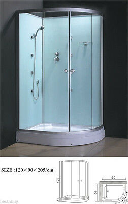 "Shower Cubicle With Glass Wall Semi Circular 1200x900x2000mm ""New"""