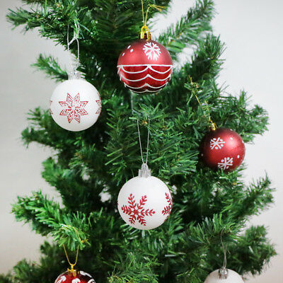 24 Christmas Tree Decorations Baubles Red White Balls Xmas Party Ornaments